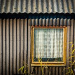 Alte Wellblechgarage mit Fenster auf Pellworm.