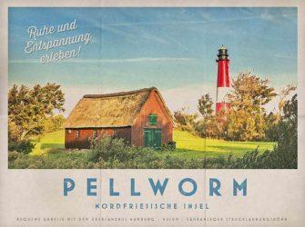 Pellworm-Reiseplakat im Stil vergangener Zeiten zum kostenlosen Download