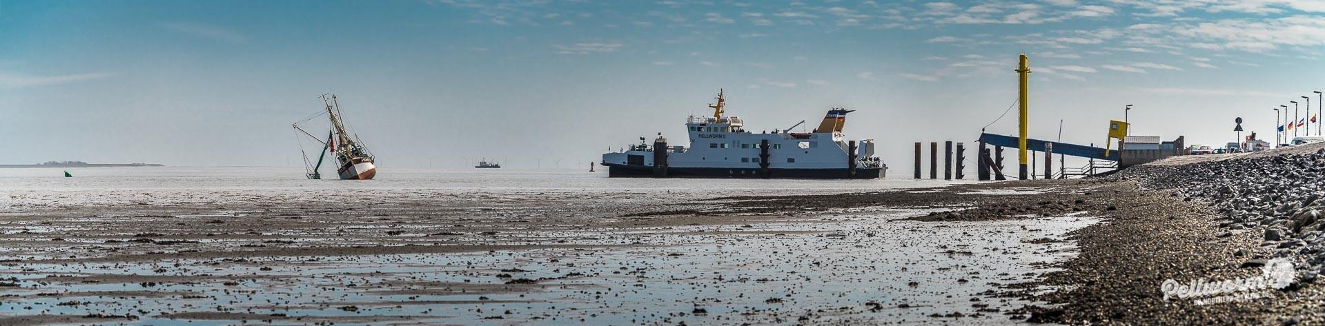 Panorama am Tiefwasseranleger auf Pellworm