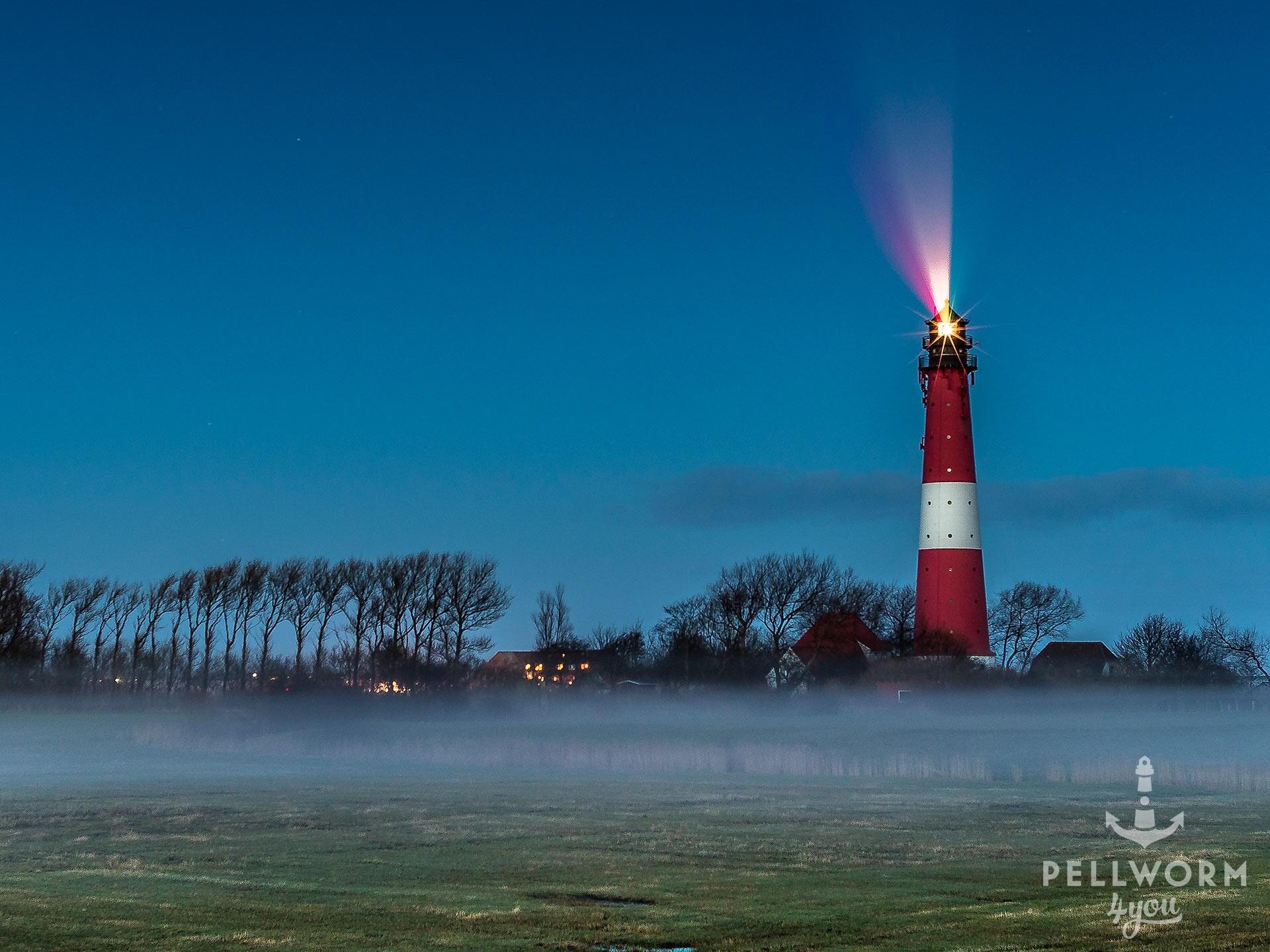 Der Leuchtturm von Pellworm in der Abenddämmerung. Er schickt seine Lichtsignale in den dunkelblauen Himmel. Bodennebel legt sich über die Wiesen vor dem Leuchtfeuer.