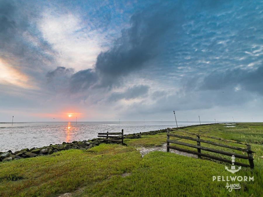 Sanfter Sonnenaufgang an der Hafeneinfahrt auf Pellworm