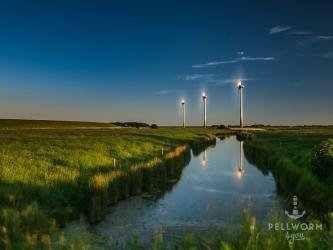 Windräder am Bupheverkoog in der Abendsonne