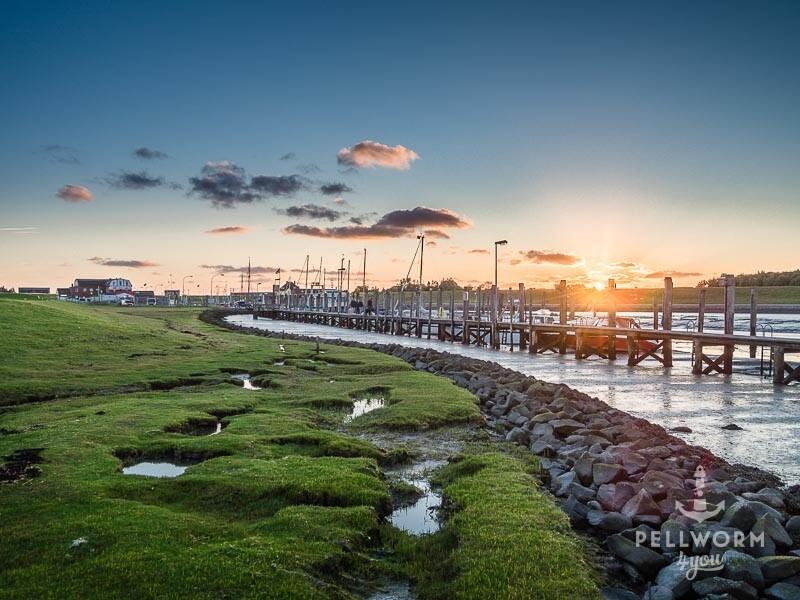 Der Pellwormer Hafen am Abend im Sonnenuntergang mit dem Yachthafen im Vordergrund
