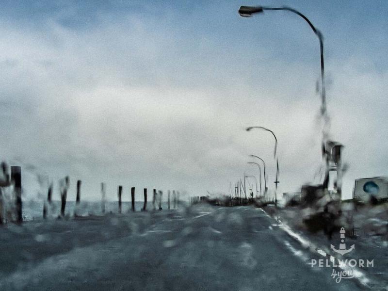 Blick durch die verregnete Windschutzscheibe im Pellwormer Hafen