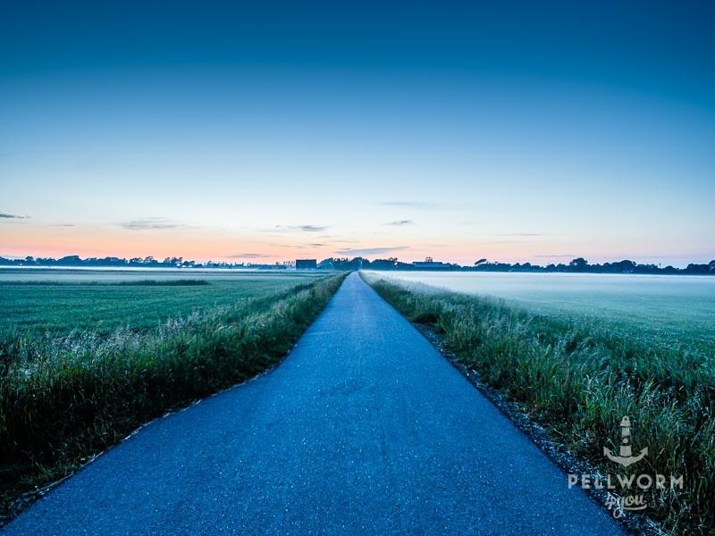 Eine gerade Straße im Morgengrauen auf Pellworm