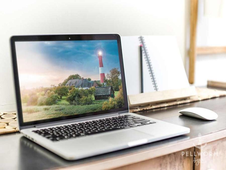 Arbeiten im Home-Office mit Blick auf den Pellwormer Leuchtturm