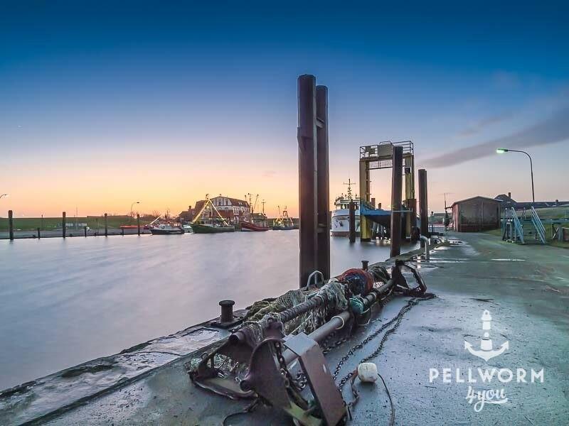 Nasskalte Stimmung im winterlichen Hafen von Tammensiel auf Pellworm